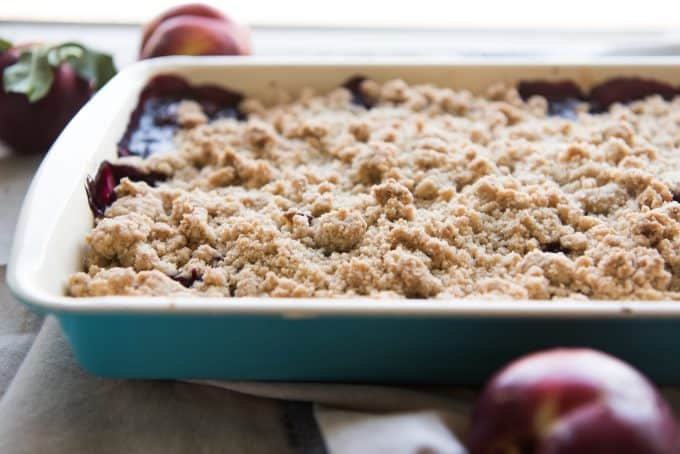 A blackberry nectarine crumble in a baking dish.