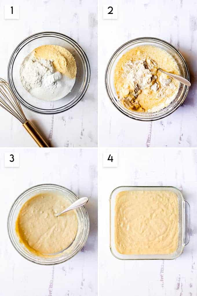 A collage of images showing how to make cornbread by adding ingredients to the bowl, stirring the ingredients, then pouring them into a pan.