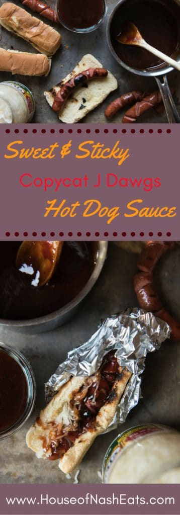 """Never overlook the humble hot dog again in favor of more """"grown-up"""" fare with this sweet & sticky copycat J Dawgs hot dog sauce."""