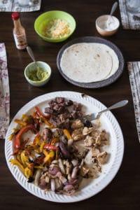 chicken or steak fajitas