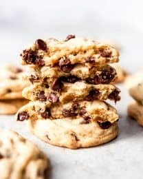 An image of a stack of chocolate chip cookies.