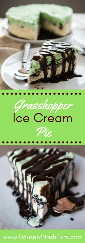 Grasshopper Ice Cream Pie is an insanely delicious (and easy!) dessert with a homemade Oreo crust and layers of vanilla ice cream, Oreo cookies, and mint chip ice cream. Then it gets drizzled with chocolate syrup for maximum chocolate effect!