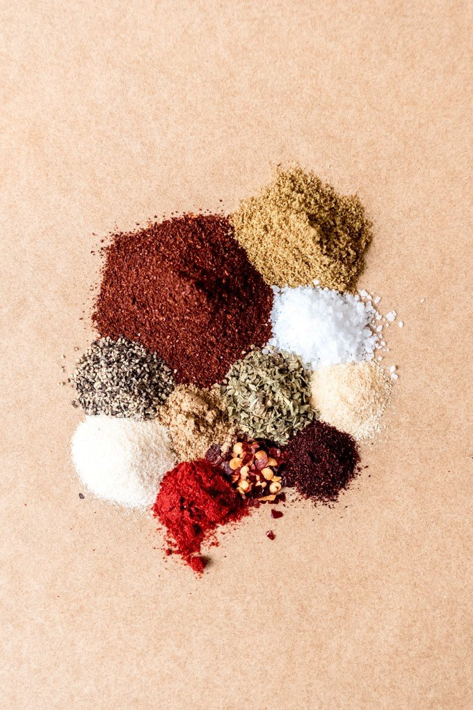 An image of the spices used to make homemade taco seasoning.