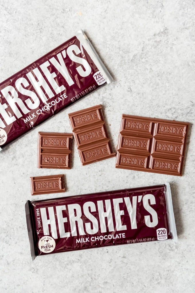 An image of Hershey's bars both in and out of the wrappers.