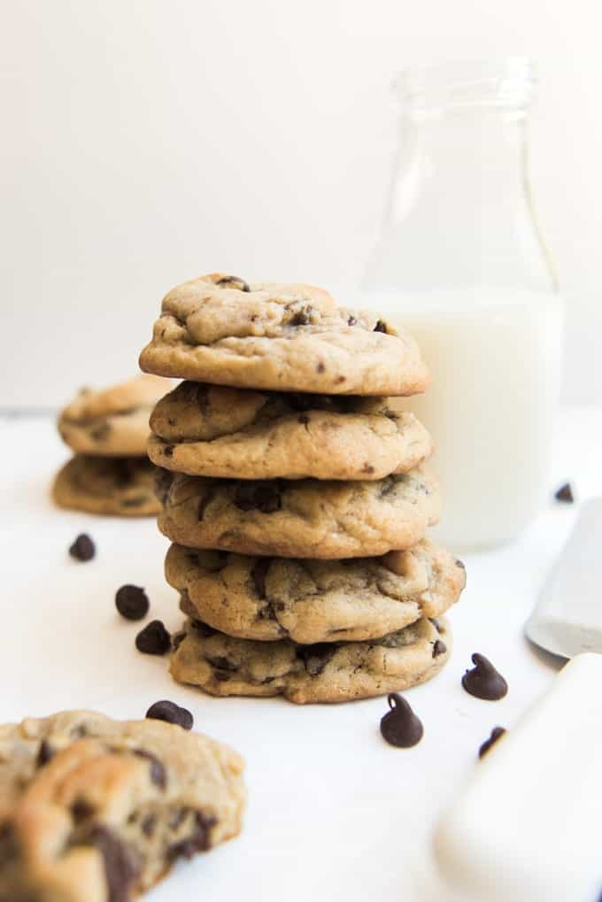 These soft & chewy chocolate chip cookies are everything you could ever want a chocolate chip cookie to be. They are a classic cookie recipe for thick and chewy chocolate chip cookies that are crispy around the edge, loaded with chocolate morsels in every bite, and chewy in the middle. You're going to want a glass of milk.