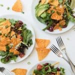 This crazy delicious Tex-Mex Doritos Taco Salad is loaded with taco meat, kidney beans, cheese, avocado, tomatoes and Nacho Cheese Doritos. That's my kind of salad!