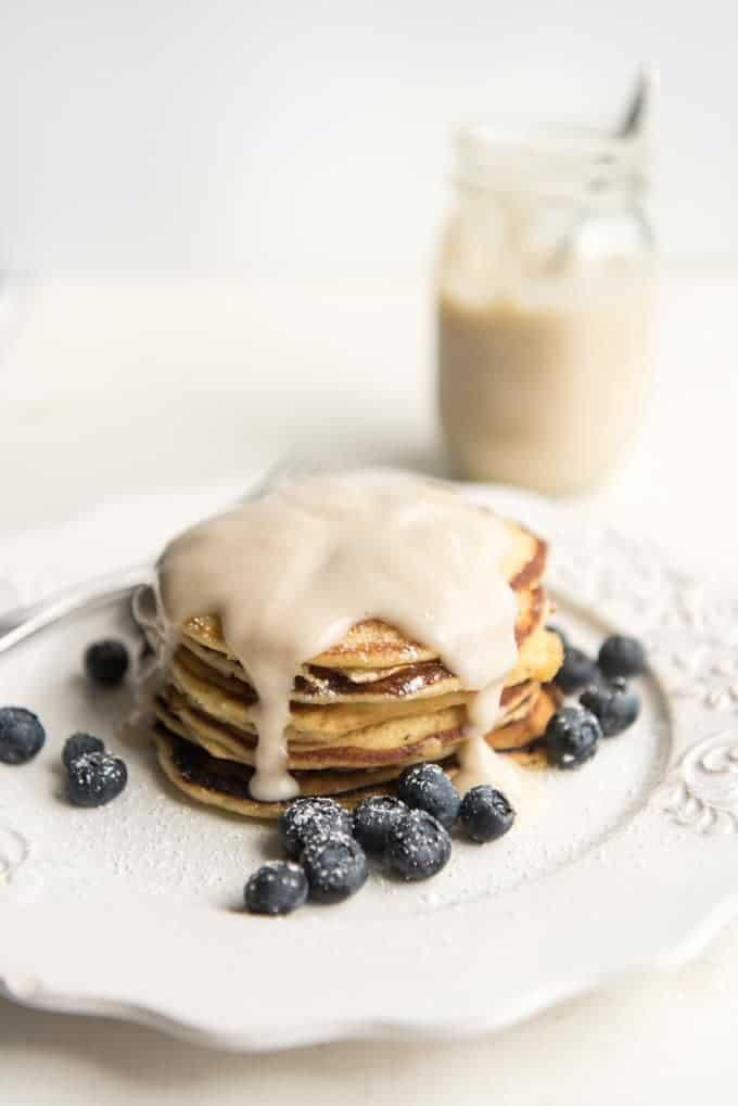 Lemon Ricotta Pancakes with Coconut Syrup
