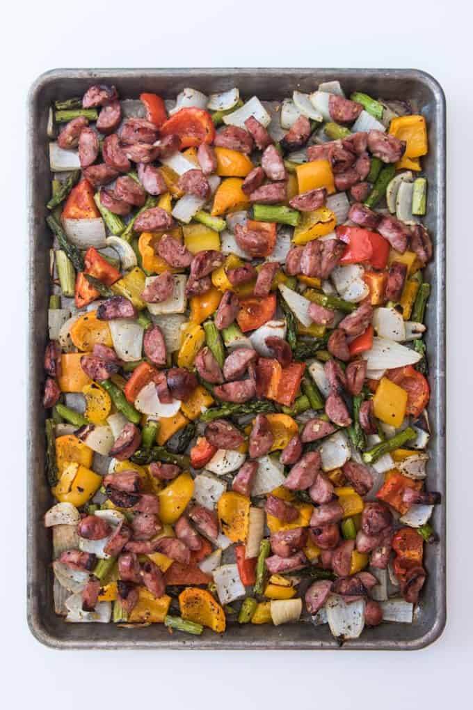 A baking sheet filled with cut up sausages, peppers, onions, and asparagus.