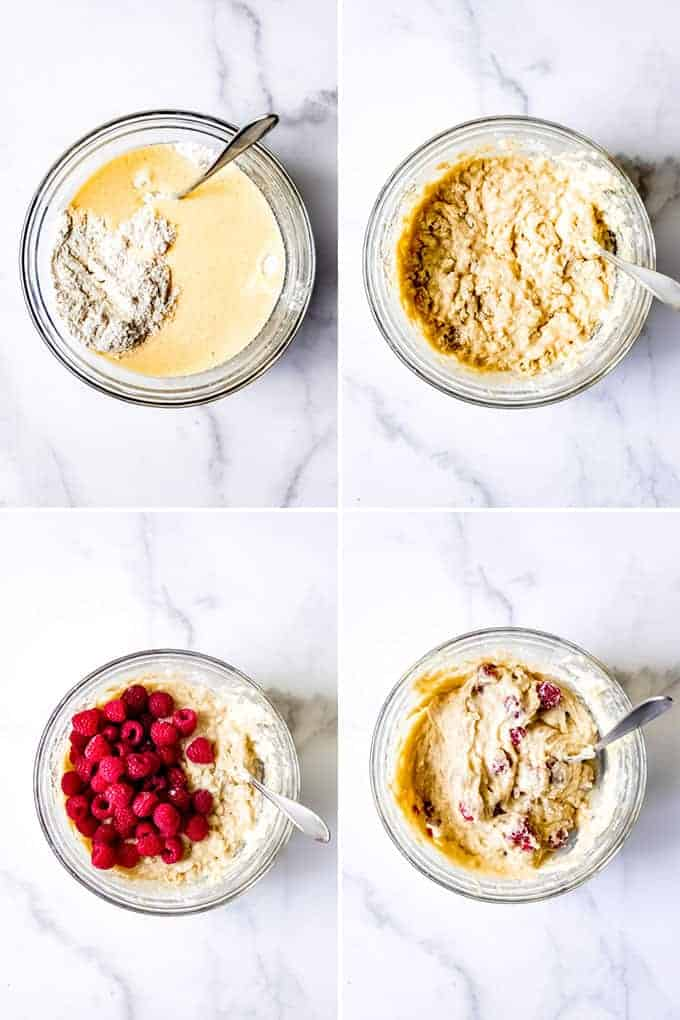A collage of images showing how to make raspberry muffins from scratch.