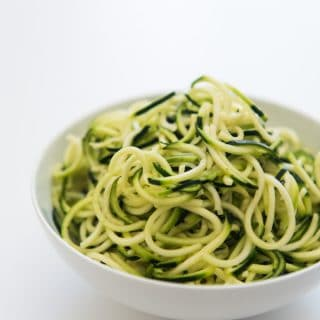 "Zucchini noodles are delicious, gluten-free, Whole 30 compliant, and so much like actual pasta! This preparation method ensures non-watery, perfectly ""al dente"" zoodles every time."