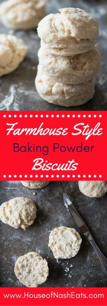 These farmhouse style baking powder biscuits are a tradition in our family. Incredibly easy to make, even on busy mornings, and perfectly light and tender, I love making these for my girls, just like my mom always made them for me.