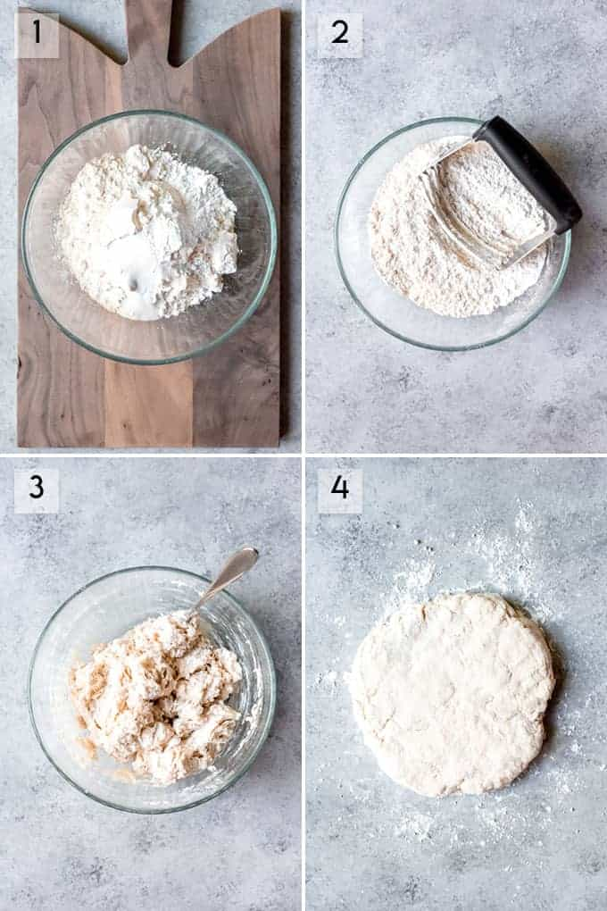 A collage of images showing step-by-step how to make homemade biscuits.