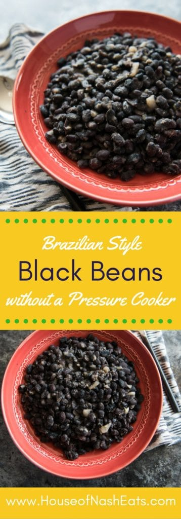 These nutritious and filling Brazilian black beans are a cooked with onions and garlic and seasoned perfectly with coriander, cumin, and oregano. What's not to love?