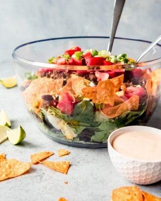 An image of a bowl of Doritos Taco Salad.