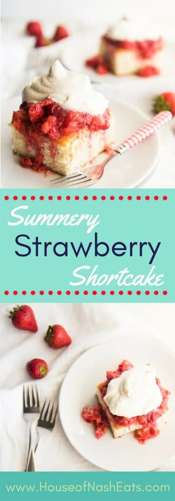 "This strawberry shortcake is the perfect dessert for showcasing summer's beautiful berries topped with a dollop of freshly whipped cream! Made with a vintage ""Best 2-Egg Cake"" recipe and perfect for Memorial Day, the 4th of July or any summer celebration!"