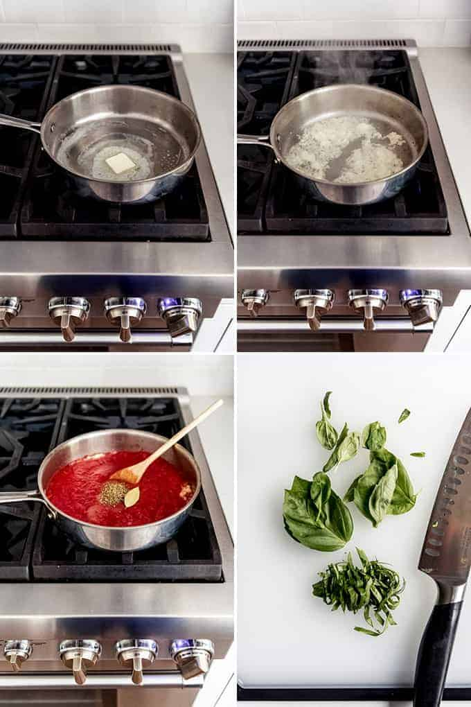 A collage of images showing how to make homemade marinara sauce.