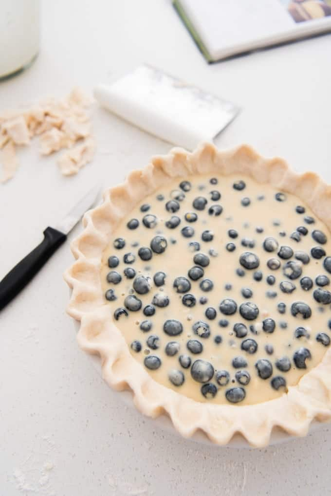 "Juicy fresh blueberries, creamy sour cream custard, buttery streusel crumble topping with chopped pecans - this blueberry sour cream custard pie won the ""Pie Most Likely To Bring About World Peace"" award at our annual Pi Day party for good reason."