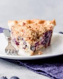a straight on shot of a triangular slice of blueberry custard pie on a plate