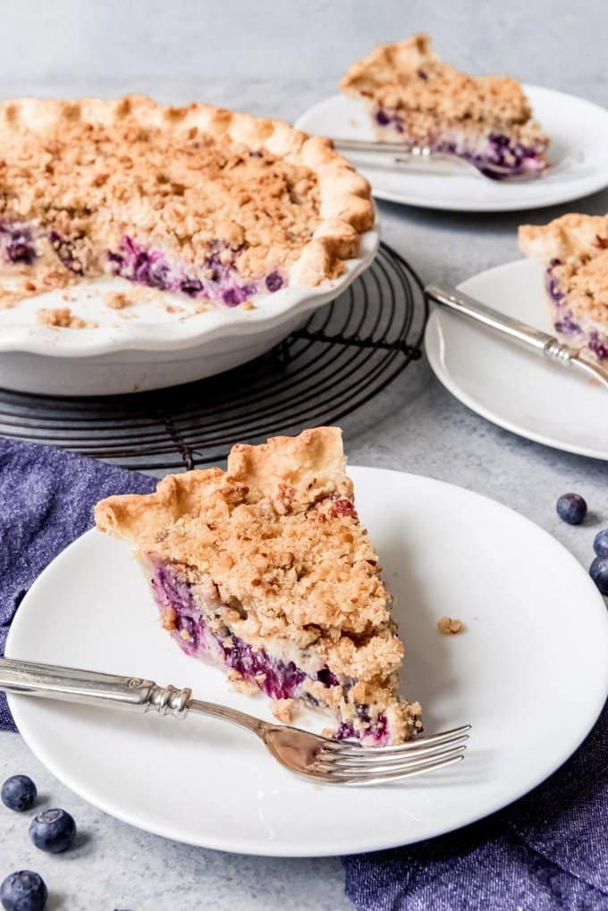 An image of a slice of blueberry custard pie on a plate with a fork and the rest of the pie in the background.