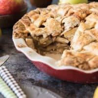 a sliced Salted Caramel Apple Pie