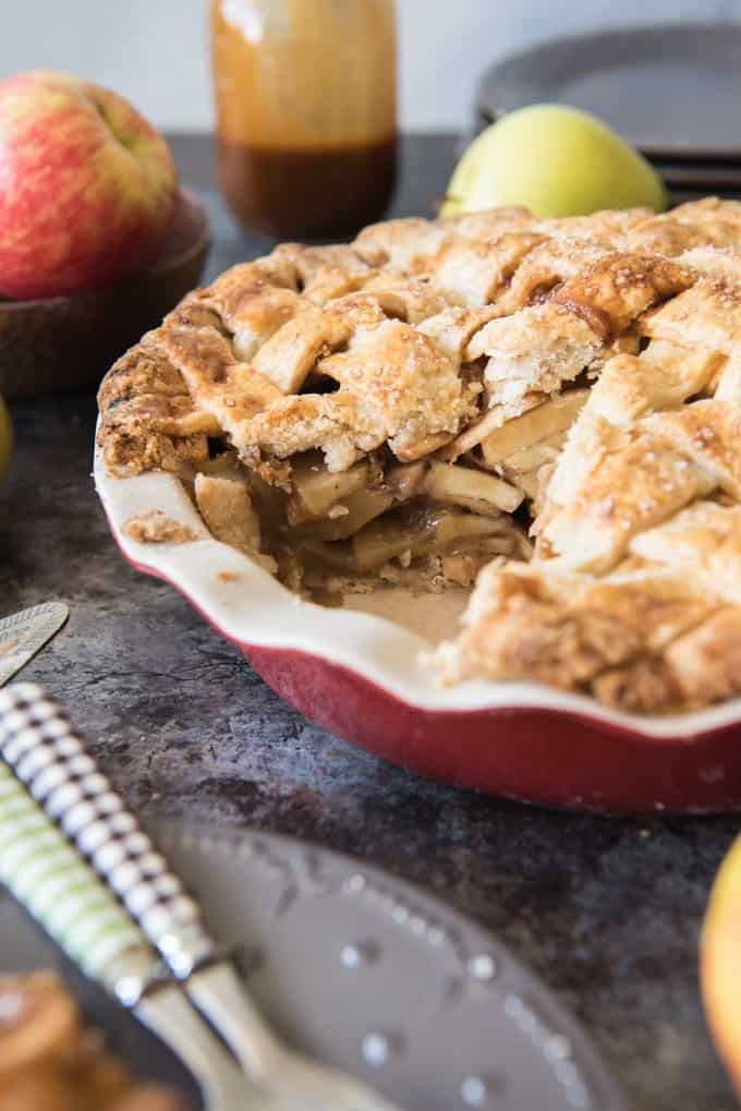 a sliced Salted Caramel Apple Pie
