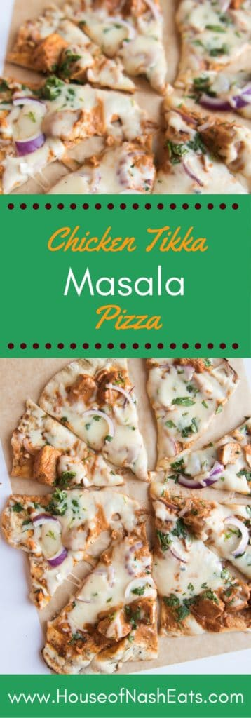 This Chicken Tikka Masala Pizza is a fusion of two takeout favorites. The rich, spiced sauce and tender meat of the chicken tikka masala top a thin, chewy crust and gets covered with melty mozzarella, red onions, and cilantro in this best-of-both-worlds pizza!