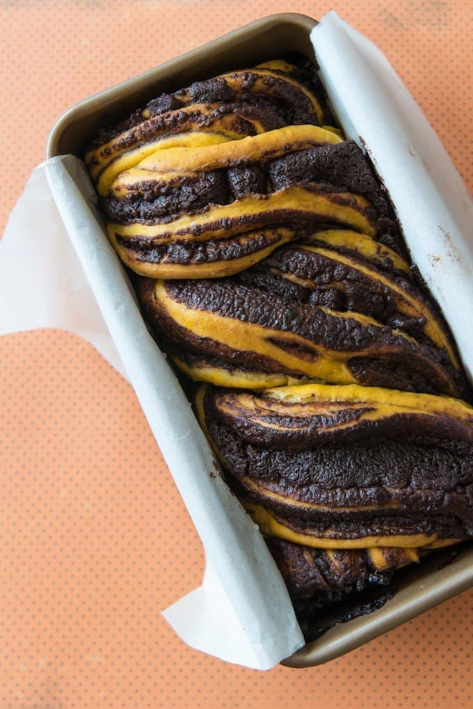 a loaf of chocolate pumpkin babka in a loaf pan with parchment paper