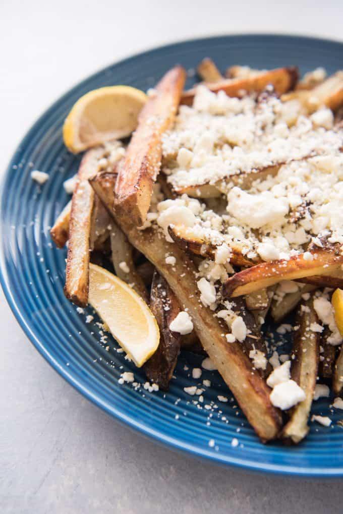 Baked Greek Feta Fries on a blue plate