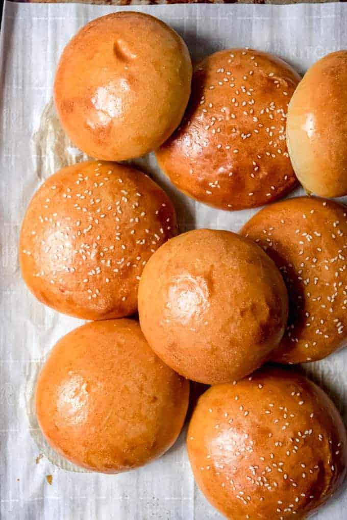 An image of homemade brioche hamburger buns.