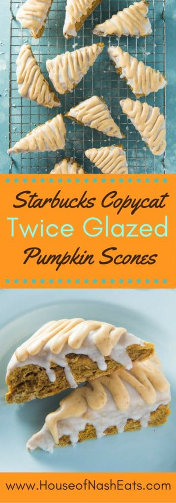 Tender, perfectly spiced and twice glazed Starbucks Pumpkin Scones are one of my favorite fall treats!  This Starbucks copycat recipe is one I look forward to every year and make as soon as we start waking up to a chill in the air. The pumpkin pie spice glaze is especially yummy!