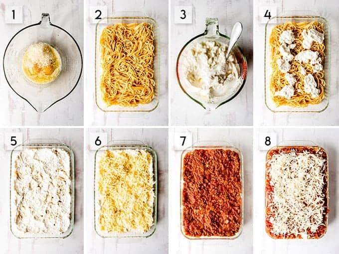 A collage of images showing the steps for how to assemble a baked spaghetti casserole.