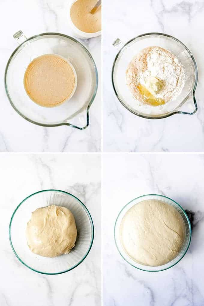 A collage of images showing how to make brioche buns by proofing yeast, then mixing the dough and letting it rise.