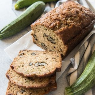 Moist, tender zucchini bread, perfectly spiced with cinnamon and cloves and studded with chopped walnuts. This is the best zucchini bread ever and the perfect way to use up all those zucchini that are growing in the garden!