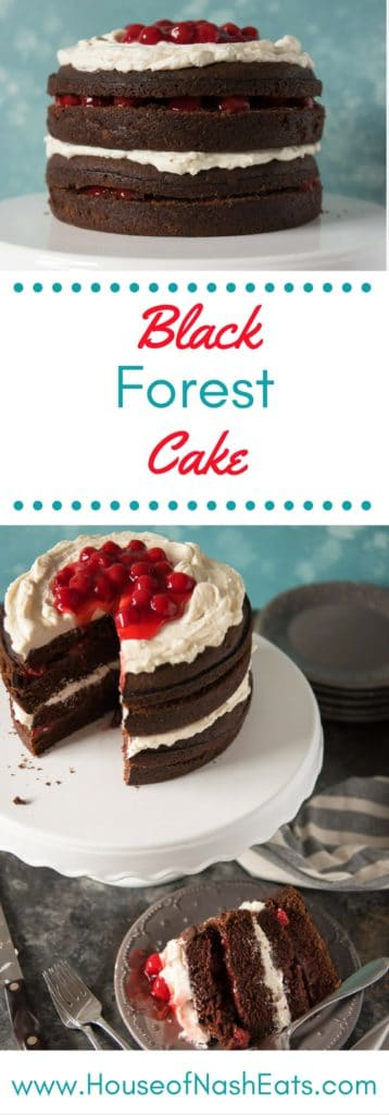 This Black Forest cake is a glorious combination of chocolate devil's food cake layered with sweet cherry filling and light ermine buttercream frosting in this modified version of a German original.