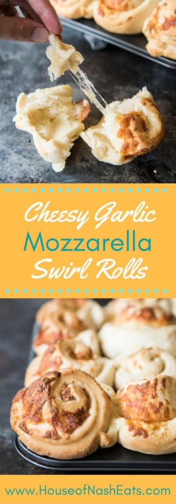 These Cheesy Garlic Mozzarella Swirl Rolls are melty, buttery, savory bliss and the perfect thing to go with all the soup that you are going to be serving this winter!