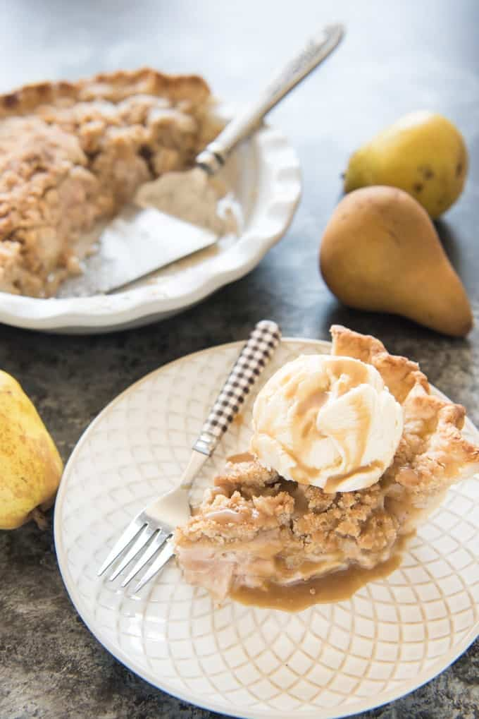 Dutch Pear & Nutmeg Pie with Streusel Topping