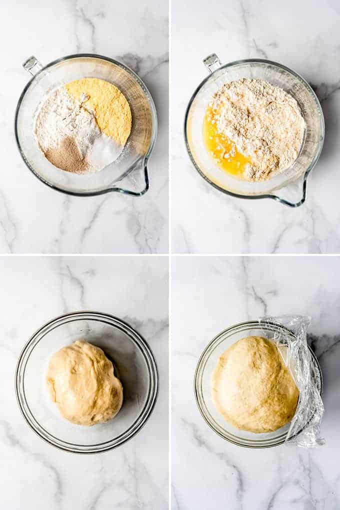 A collage of images showing how to make deep dish pizza dough with cornmeal in the crust.