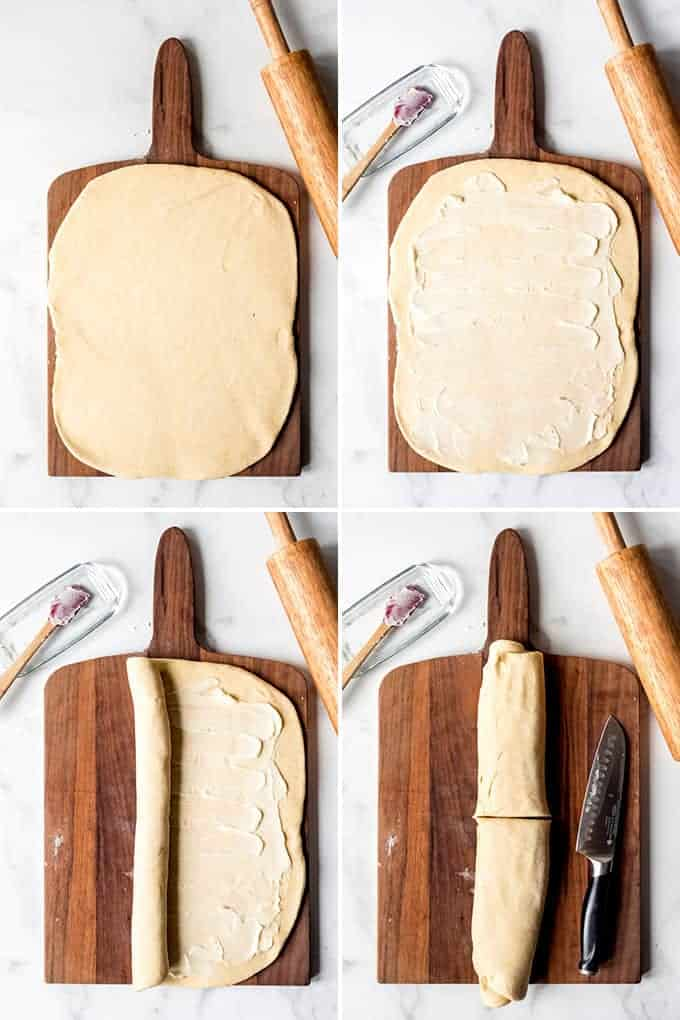 A collage of images showing how to laminate deep dish pizza dough.