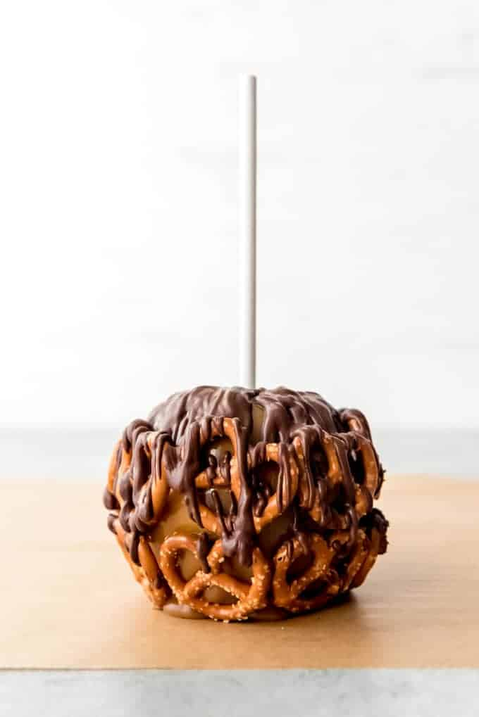 An image of a chocolate pretzel caramel apple.