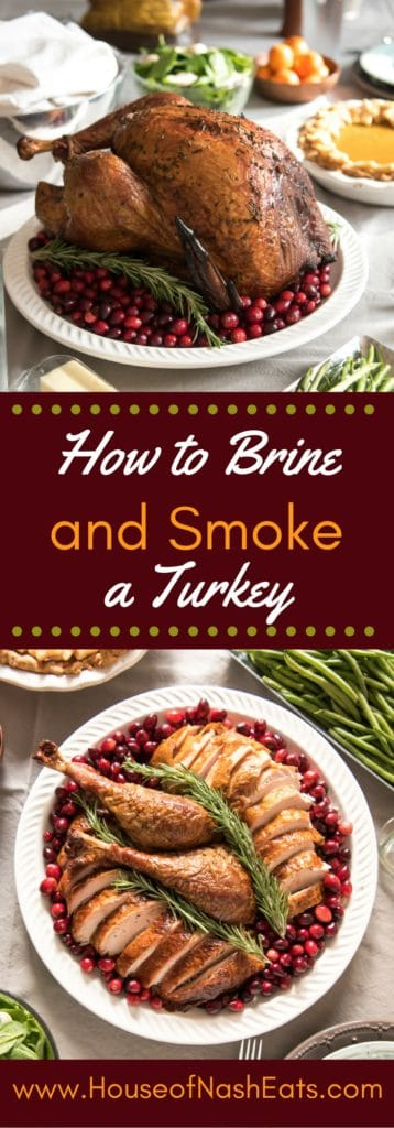 This recipe for how to make a brined & smoked turkey will give you the juiciest, most succulent smoked turkey ever! Brining helps it stay extra moist, while applewood smoke creates the most flavorful turkey ever! Make your brined & smoked turkey using an electric smoker which makes it super easy, which means more time to relax or work on the rest of Thanksgiving dinner!