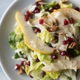 Winter Pear, Pomegranate & Swiss Salad with Poppy Seed Dressing