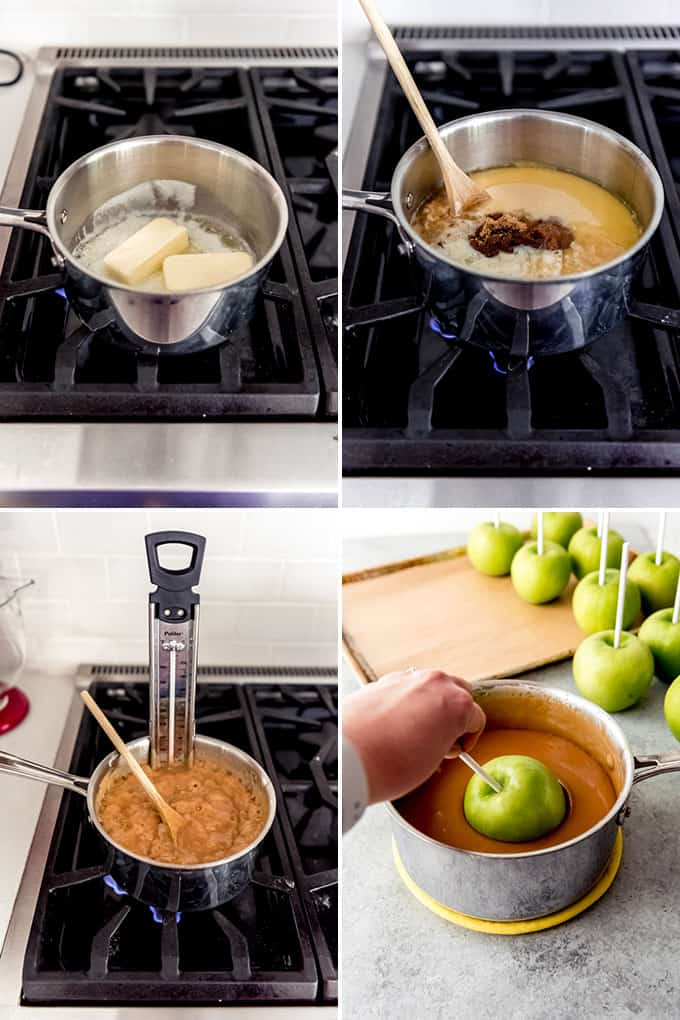 A collage of images showing the steps for how to make caramel apples from scratch.
