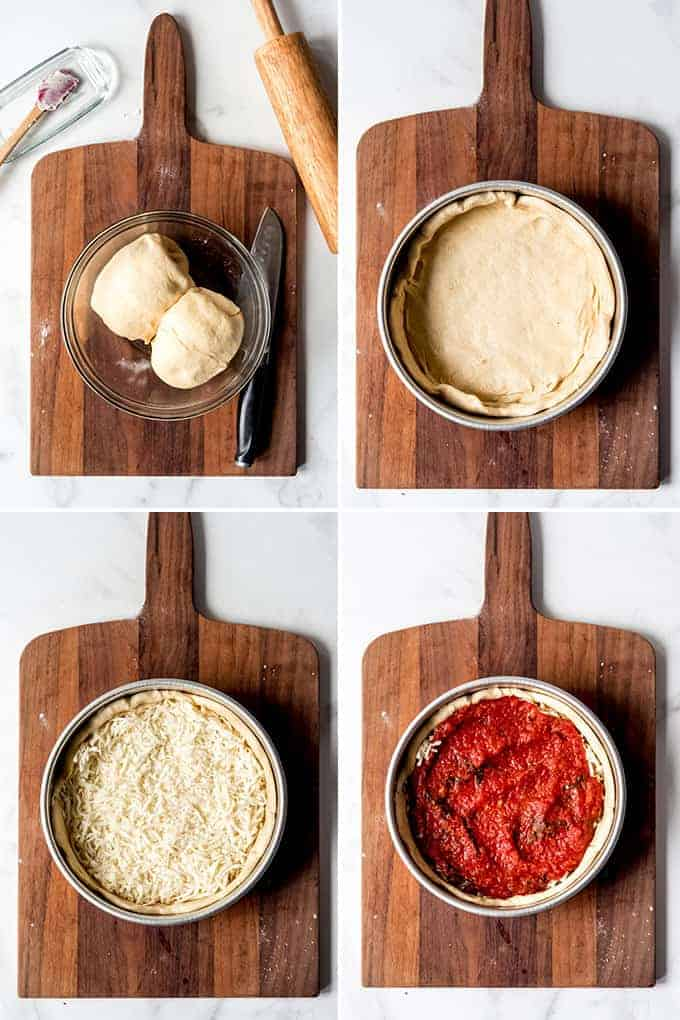 A collage of images showing how to make Chicago deep dish pizza.