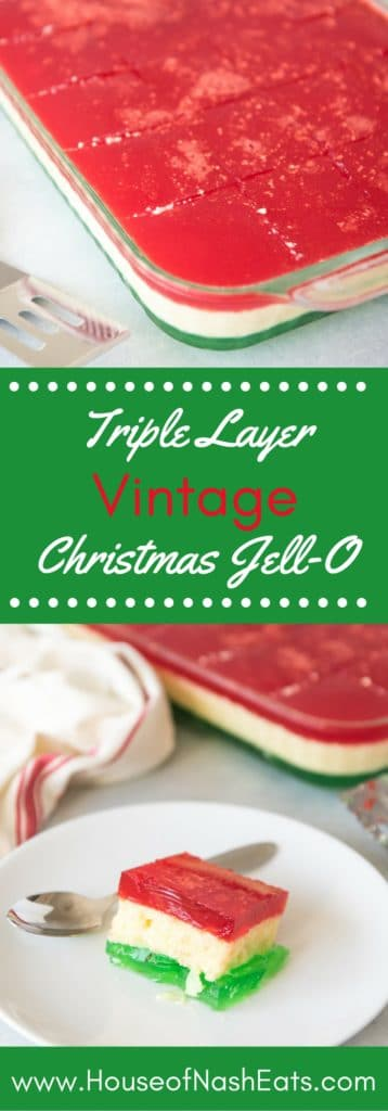 There's always room for Jell-O, especially one as festive and fun as this Triple Layer Vintage Christmas Jell-O Salad with red, white and green layers that are perfect for Christmas dinner!
