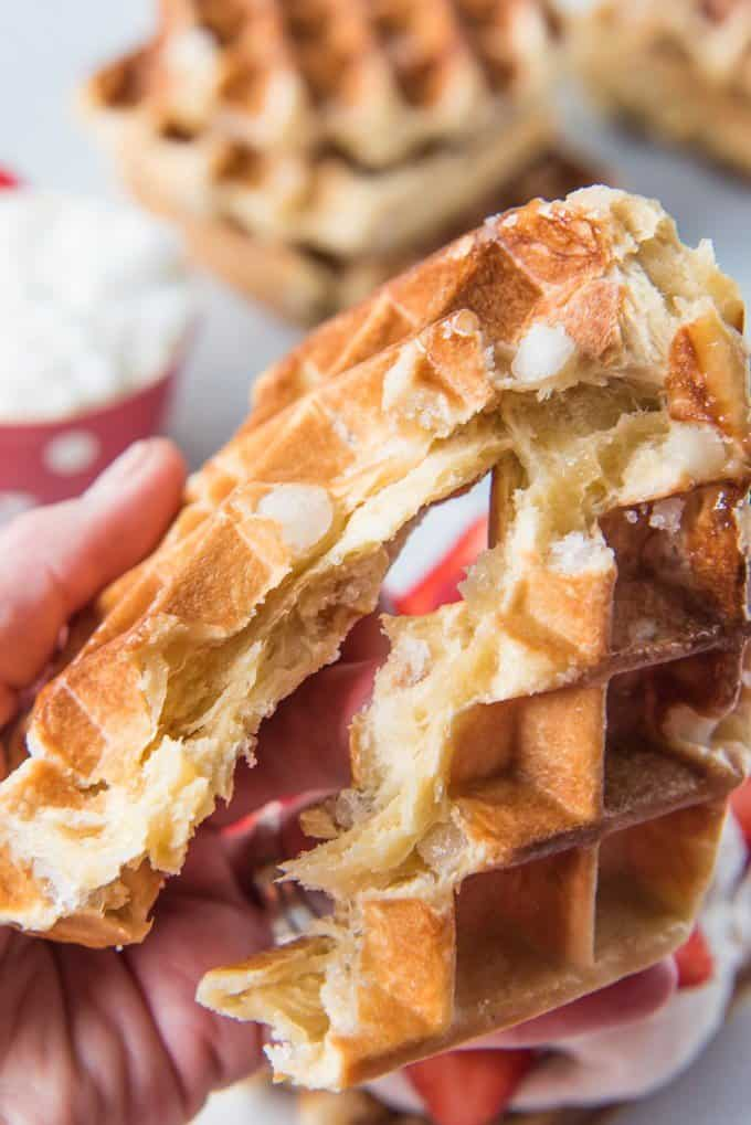 These Copycat Waffle Love Liège Waffles are made from a rich, yeast-based brioche dough with Belgian pearl sugar kneaded into it to create a crunchy, caramelized sweetness around the individual pockets and ridges of each waffle. Top them with Biscoff cookie butter, a big scoop of freshly whipped cream, raspberries and sliced strawberries for an incredible dessert or a super decadent breakfast!