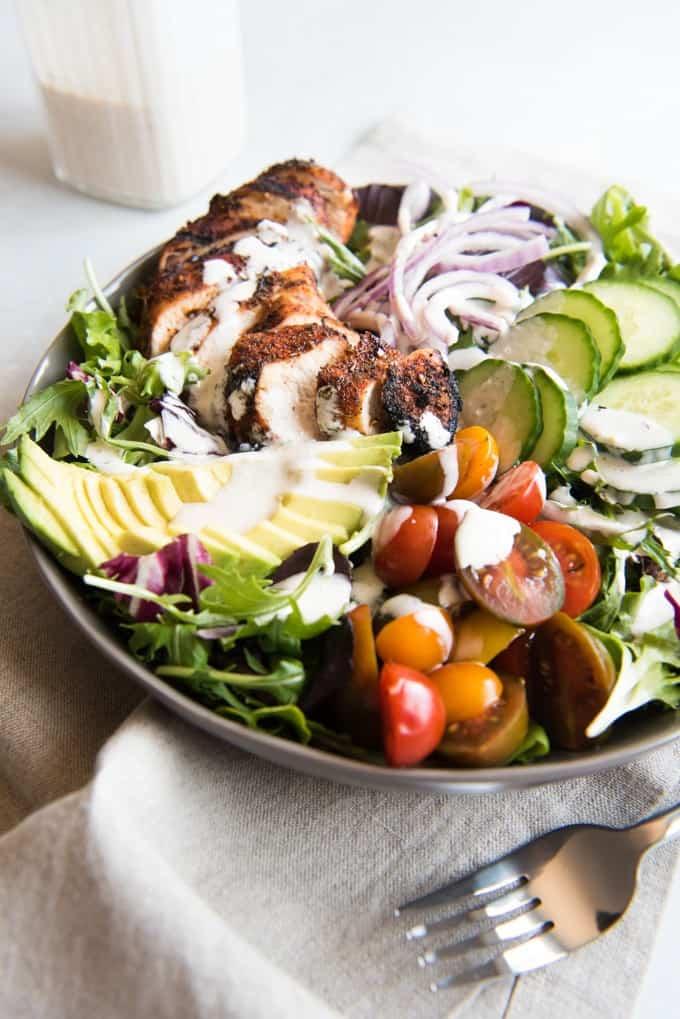 Grilled Cajun Chicken Salad with Creamy Cajun Dressing - House of Nash ...