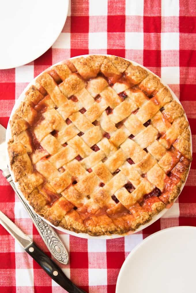 an aerial view of a whole Strawberry Rhubarb Pie