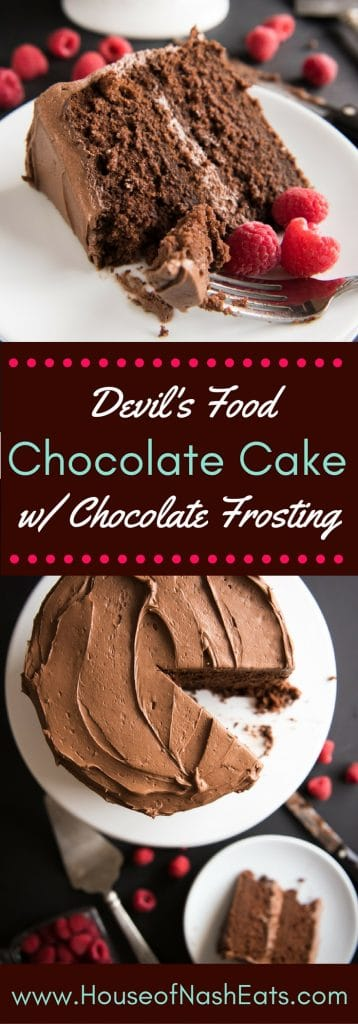 This intensely chocolaty Devil's Food Chocolate Cake with Chocolate Buttercream Frosting is a totally indulgent dessert. The cake is rich and moist with a tender crumb and it's a chocolate lover's dream. Especially with my favorite chocolate buttercream frosting slathered generously between the layers and around the outside - no fancy piping or decorating skills required!