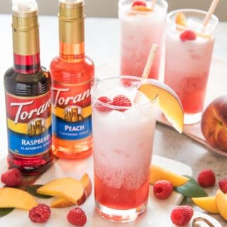 Raspberry Peach Italian Cream Sodas
