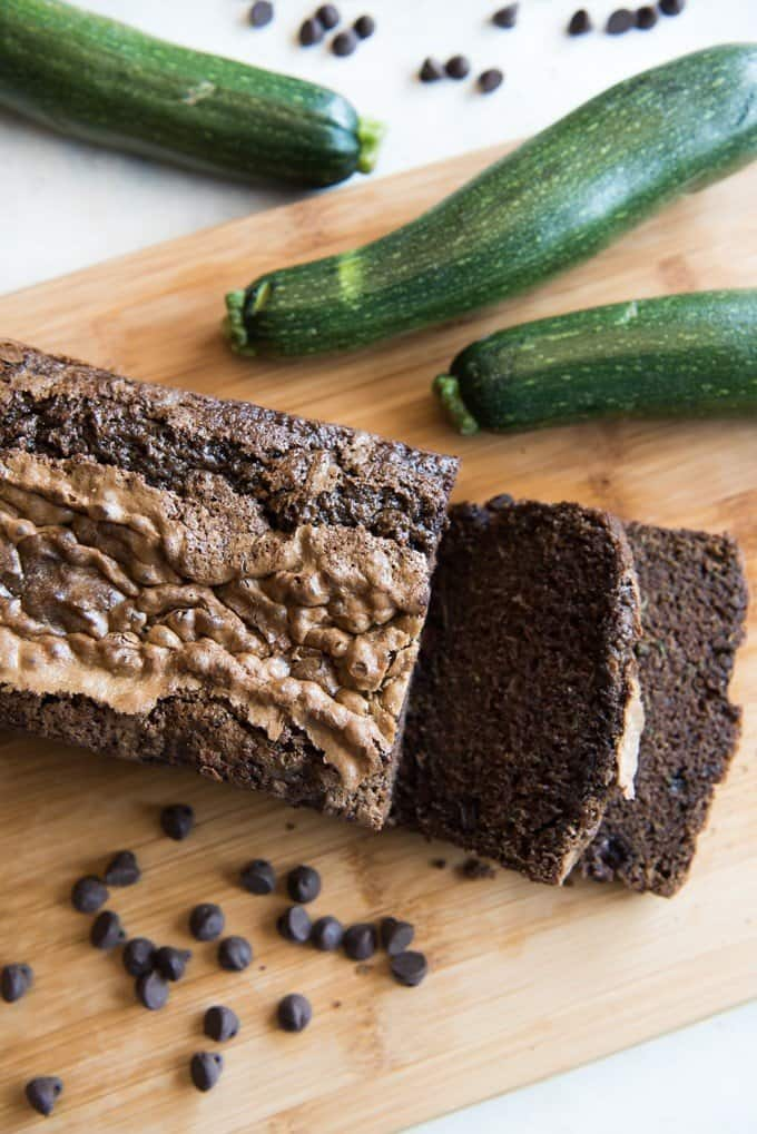 sliced chocolate zucchini bread with whole zucchinis and chocolate chips scattered around